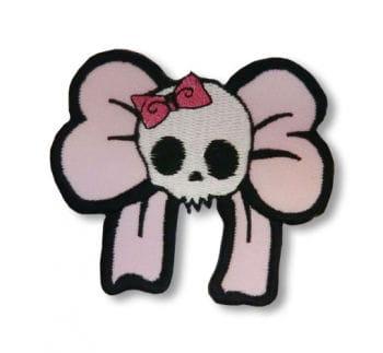 Totenkopf Aufnäher mit Schleife rosa