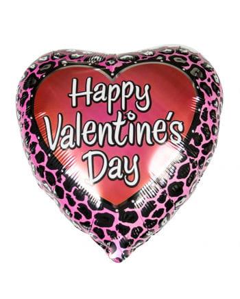 Valentine Heart foil balloon with leopard pattern