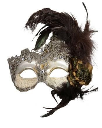 Venezianische Maske mit Federn silber/braun