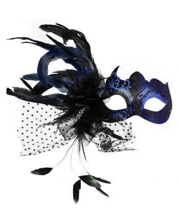 Venezianische Augenmaske mit Federn blau