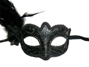 Venezianische Feder Maske schwarz