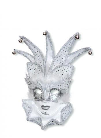 Venezianische Hofnarr Maske weiß