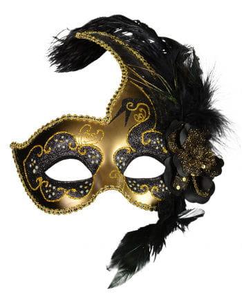 venezianische maske mit federn schwarz gold. Black Bedroom Furniture Sets. Home Design Ideas
