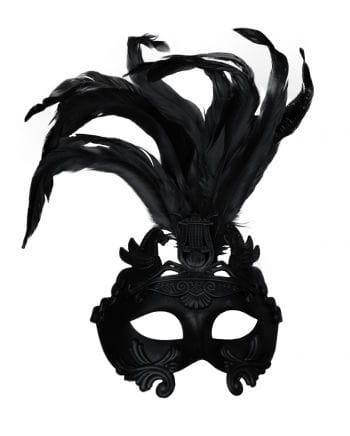 Antike Augenmaske mit Federn schwarz
