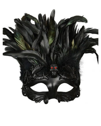 Venetian skull mask with feathers