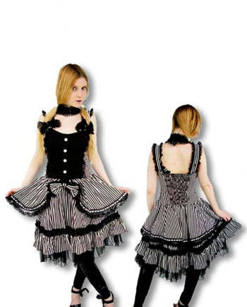 Victorian Lolita Dress Black White Striped L