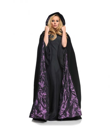 Velvet hooded cape with purple lining