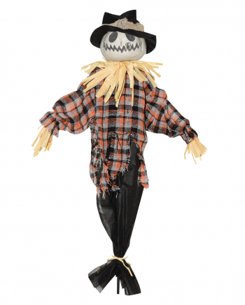 Scarecrow Hanging Figure With White Pumpkin Head