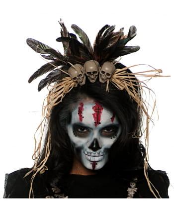 voodoo kopfschmuck mit totenk pfen als kost mzubeh r horror. Black Bedroom Furniture Sets. Home Design Ideas