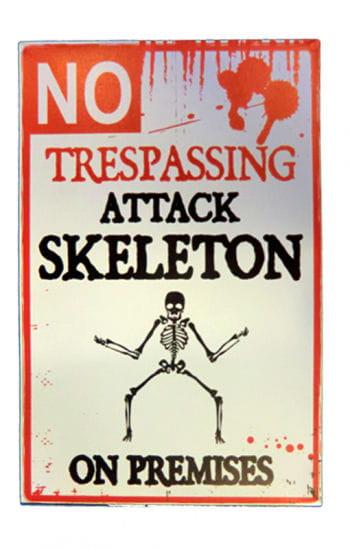 Warnschild Attackierendes Skelett