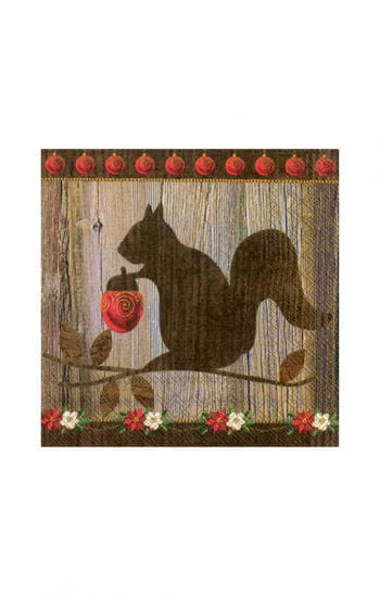Christmas napkins with squirrel motif