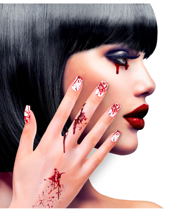 White Fingernails With Blood Spatter 12 Pcs.