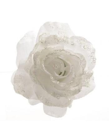Glitzernde Deko Rose mit Clip Weiß