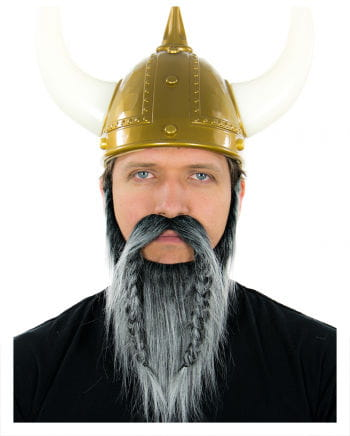 Wikinger Bart Schwarz-Grau Meliert
