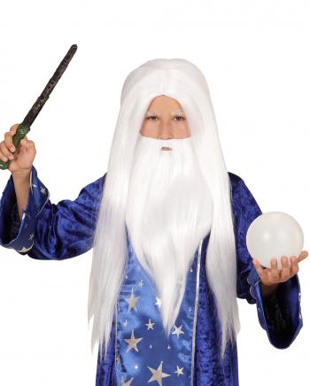 Zaubererperücke mit Bart Weiß für Kinder