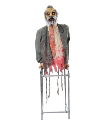 Zombie Opa With Walking Aid With Sound & Movement
