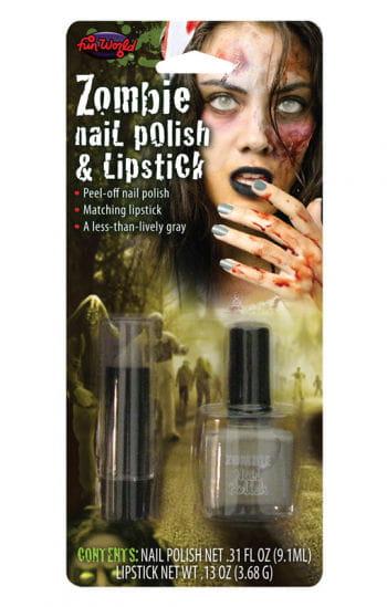 Lipstick and Nail Polish Zombie Grey