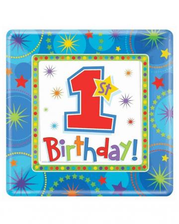 1. Geburtstags Teller blau