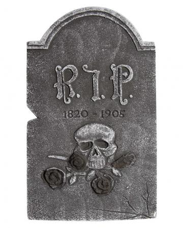 Gravestone Skull With Black Roses