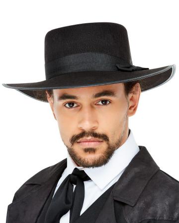 20s Felt Hat With Wide Brim Black