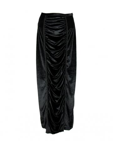 Long Velvet Skirt With Gathering