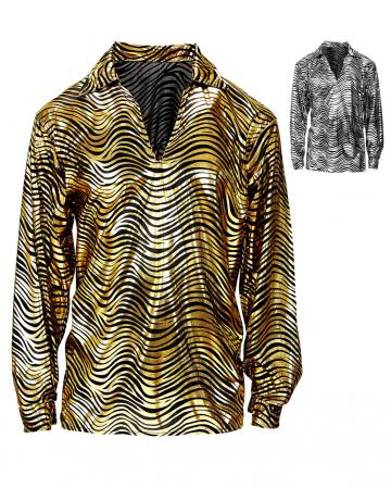 70er Jahre Disco Fieber Hemd Gold oder Silber
