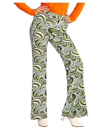 Groovy 70`s Women's Flared Pants Waves