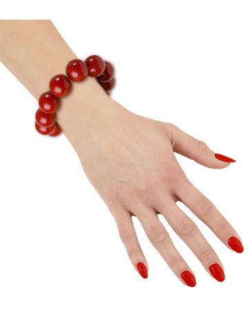 70er Jahre Perlenarmband Rot