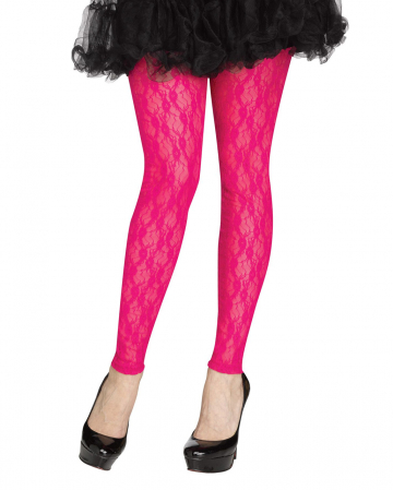 80s Mesh Leggings With Lace Neon Pink