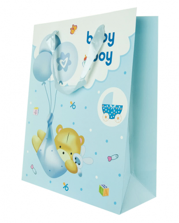 Baby boy gift bag with bear