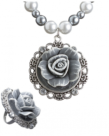 Barock Perlenkette & Ring mit Rose