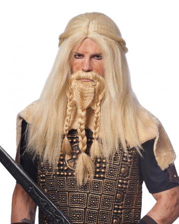 Blonde Vikinger Perücke mit Bart
