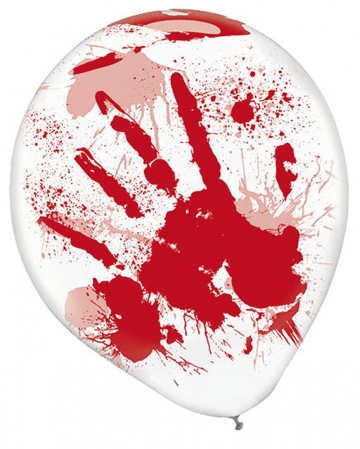 Bloody Hands Latex Balloons 6 Pcs.