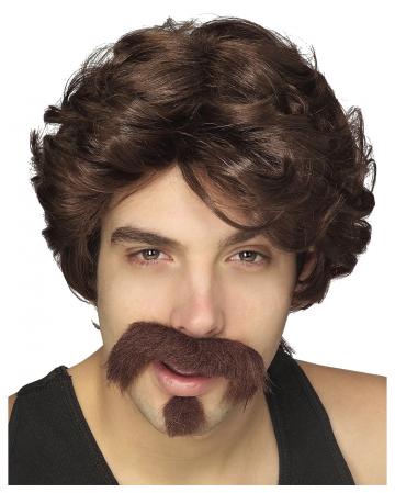 Braune 80er Jahre Perücke mit Bart