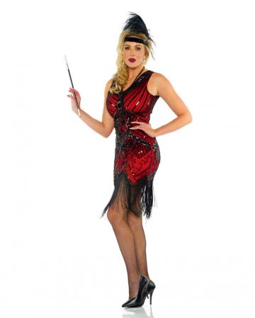 Charleston Ladies Costume With Glitter Red