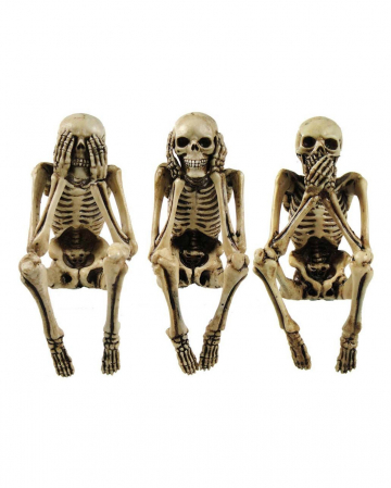 Three Wise Skeleton Figures 10cm