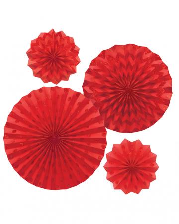 Fächer Deko Set Rot