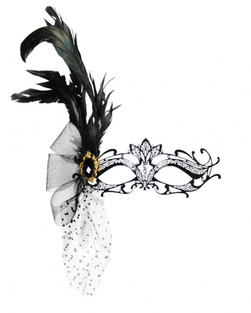 Intricate metal eye mask with rhinestones and feathers black