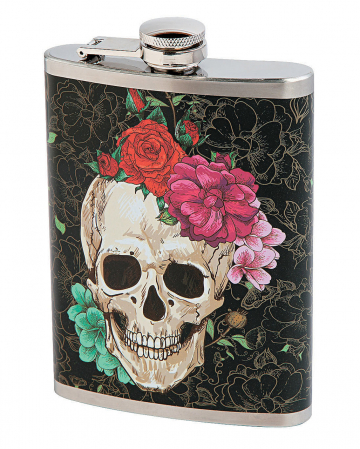 Hip Flask With Skull & Flower Design