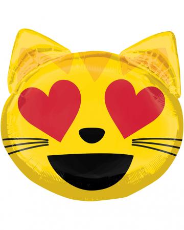 Foil Balloon Emoji Cat In Love 55cm