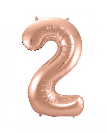 Folienballon Zahl 2 Rose Gold