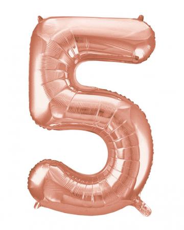 Folienballon Zahl 5 Rose Gold