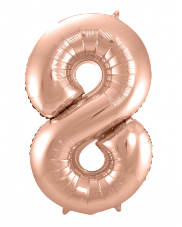 Folienballon Zahl 8 Rose Gold