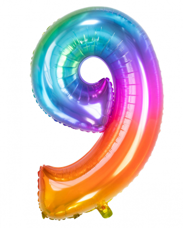 Foil Balloon Number 9 Rainbow