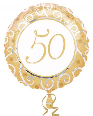 Folienballon 50. Geburtstag gold