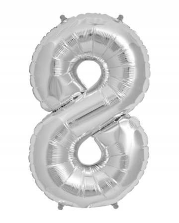 Foil Balloon Number 8 Silver