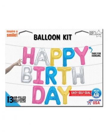 Folienballons Happy Birthday Kit Bunt