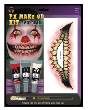 FX Make Up Kit Evil Grin With Adhesive Tattoo