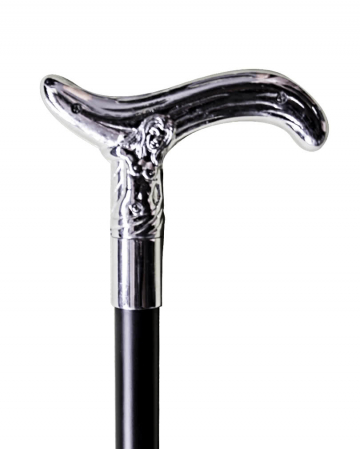 Walking cane with silver handle