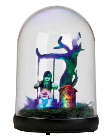Ghost Girl On Swing Under Glass Bell